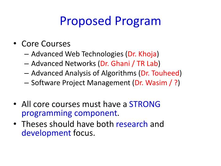 Proposed Program