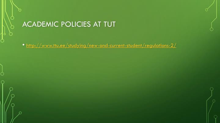 Academic policies at tUT