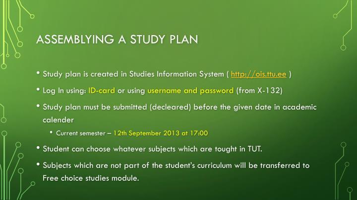Assemblying a Study plan