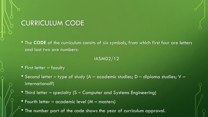 Curriculum code