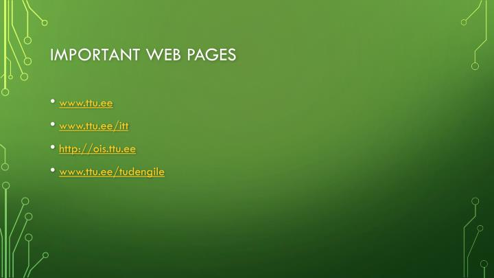 Important web pages