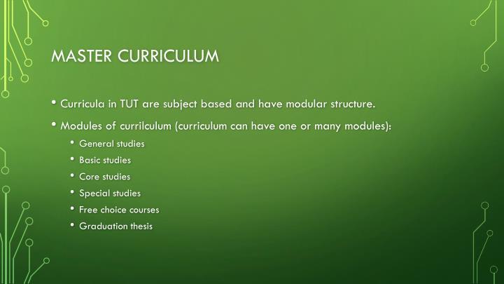 Master curriculum