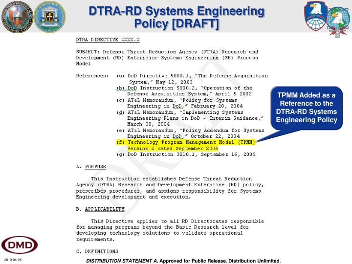 DTRA-RD Systems Engineering