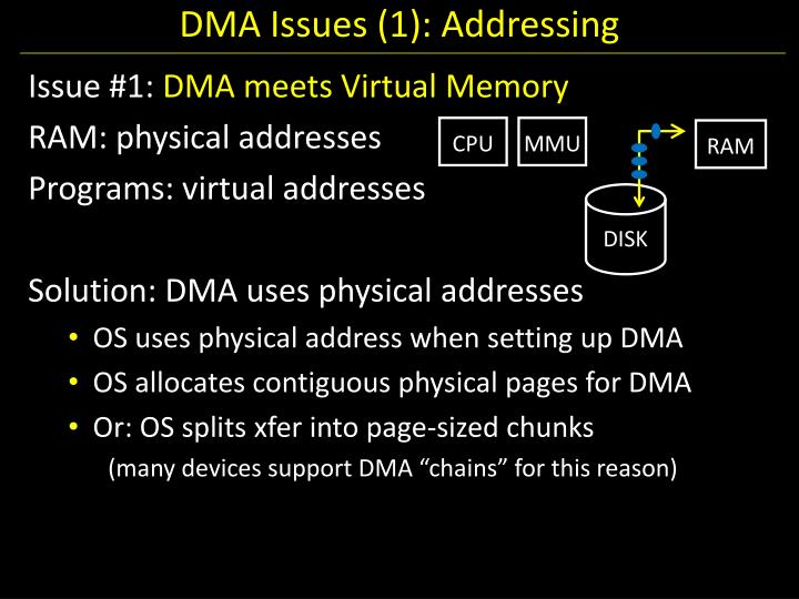 DMA Issues (1): Addressing