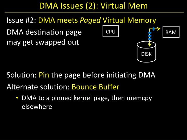 DMA Issues (2): Virtual Mem