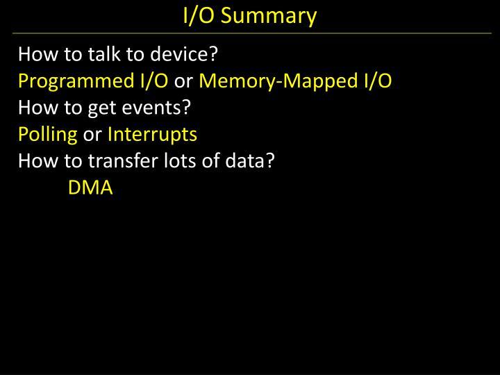 I/O Summary
