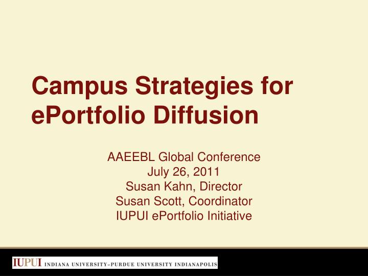 Campus strategies for eportfolio diffusion
