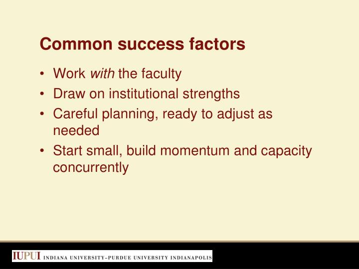 Common success factors