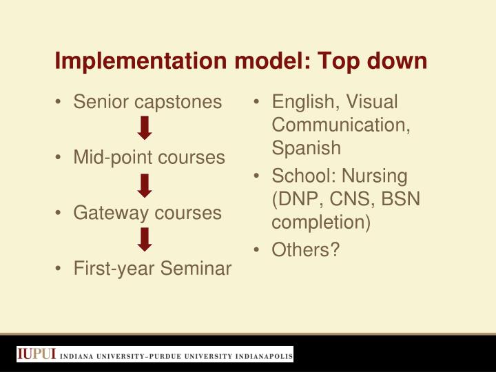 Implementation model: Top down