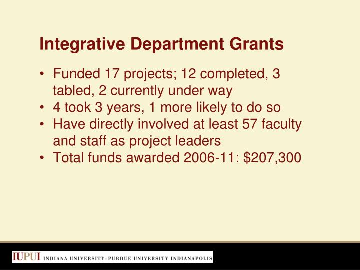 Integrative Department Grants