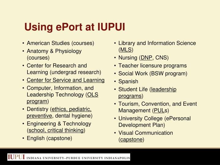 Using ePort at IUPUI