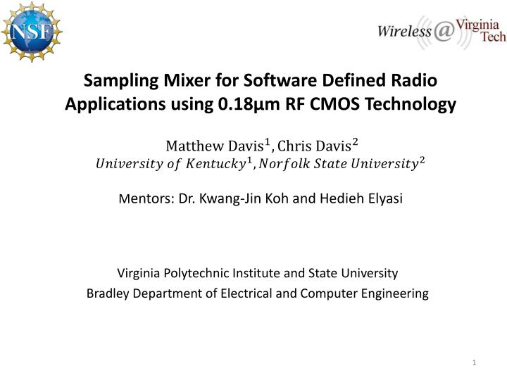 Sampling Mixer for Software Defined Radio Applications using 0.18µm RF CMOS Technology