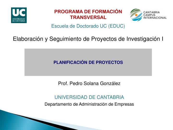 PROGRAMA DE FORMACIÓN TRANSVERSAL