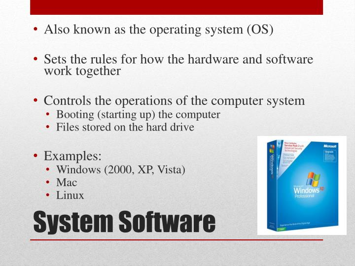 Also known as the operating system (OS