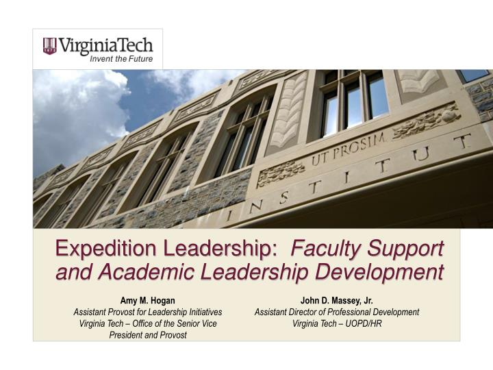 Expedition leadership faculty support and academic leadership development