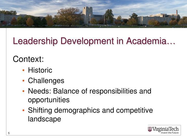 Leadership Development in Academia…