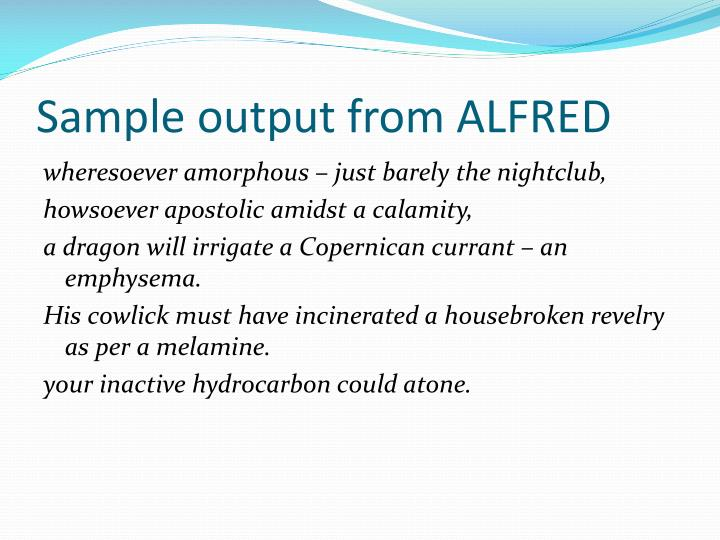 Sample output from ALFRED