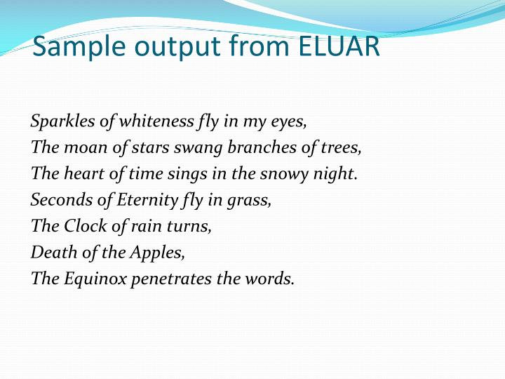 Sample output from ELUAR