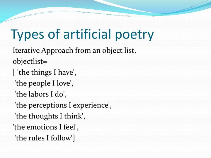 Types of artificial poetry