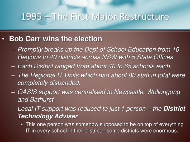 1995 – The First Major Restructure