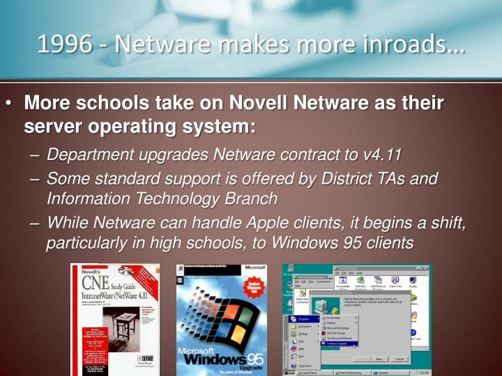 1996 - Netware makes more inroads…