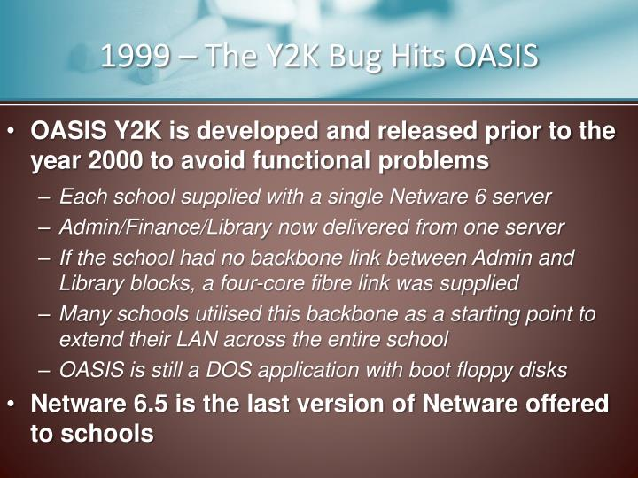 1999 – The Y2K Bug Hits OASIS