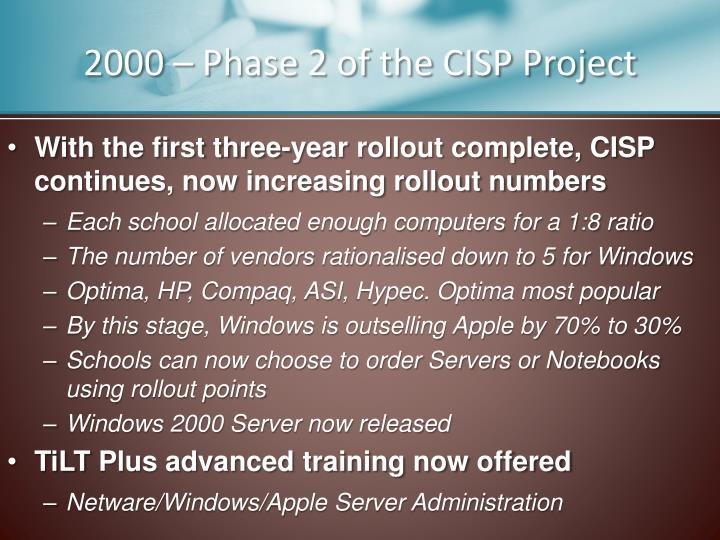 2000 – Phase 2 of the CISP Project