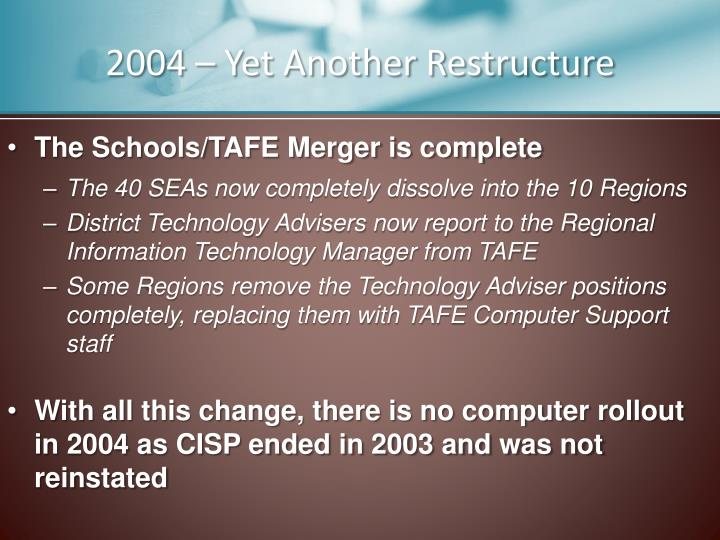 2004 – Yet Another Restructure
