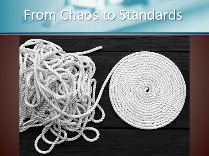 From chaos to standards