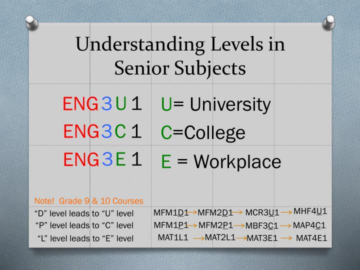 Understanding Levels in Senior Subjects