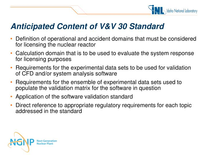 Anticipated Content of V&V 30 Standard
