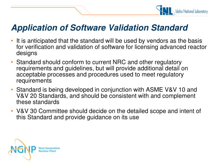 Application of Software Validation Standard