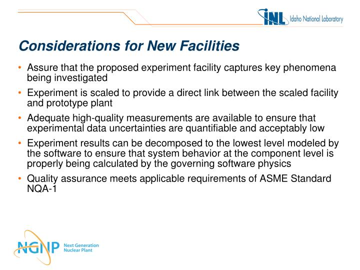 Considerations for New Facilities