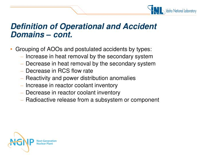 Definition of Operational and Accident
