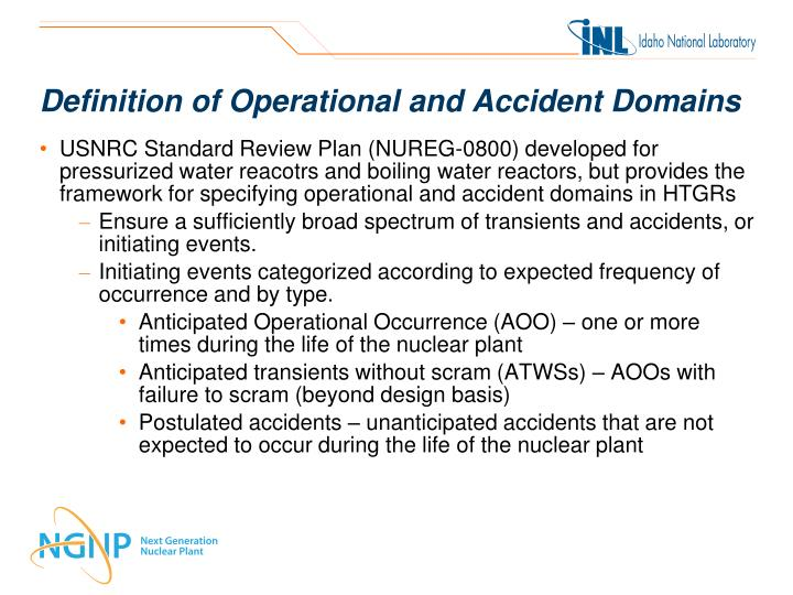Definition of Operational and Accident Domains