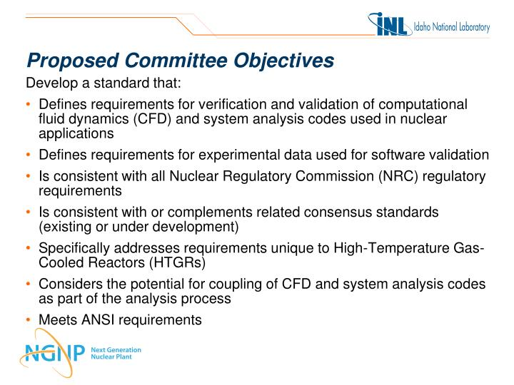 Proposed Committee Objectives