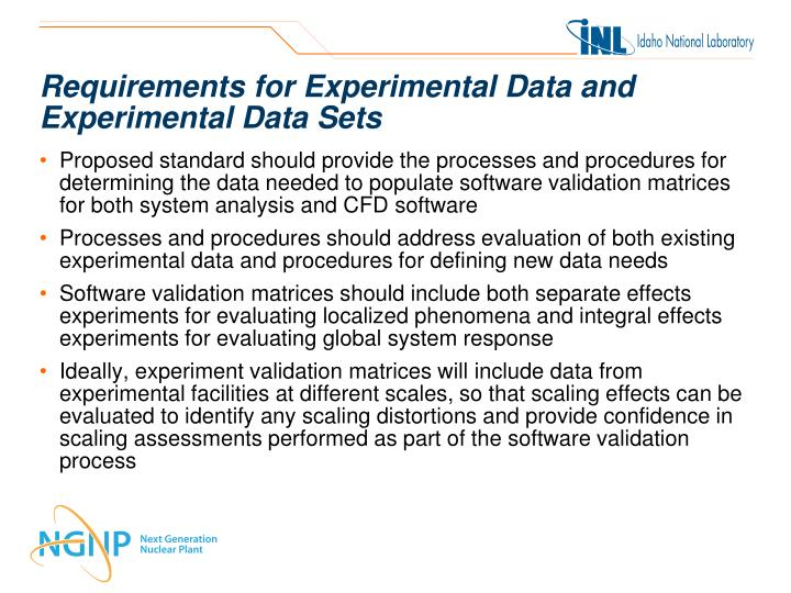 Requirements for Experimental Data and Experimental Data Sets