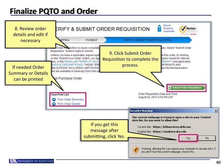 Finalize PQTO and Order