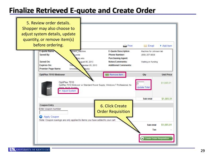 Finalize Retrieved E-quote and Create Order
