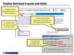 finalize retrieved e quote and order