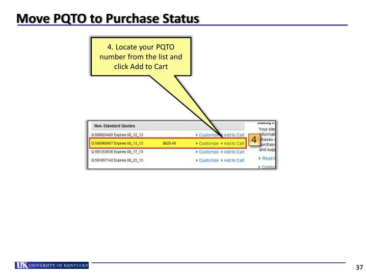 Move PQTO to Purchase Status