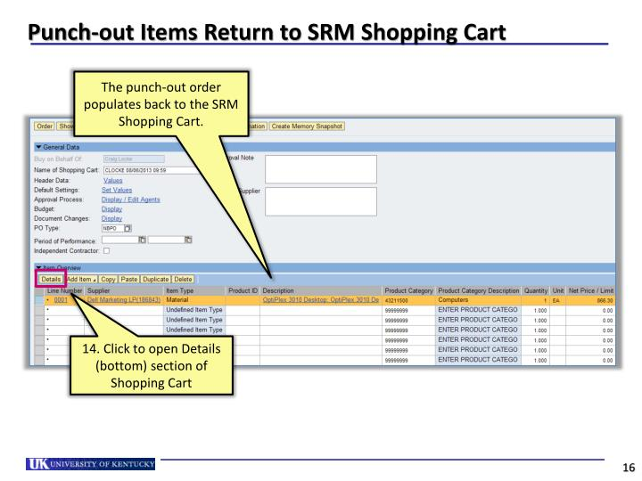 Punch-out Items Return to SRM Shopping Cart