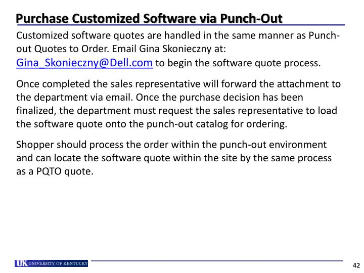 Purchase Customized Software via Punch-Out