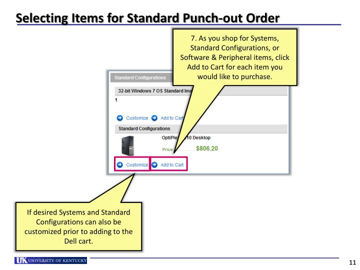 Selecting Items for Standard Punch-out Order