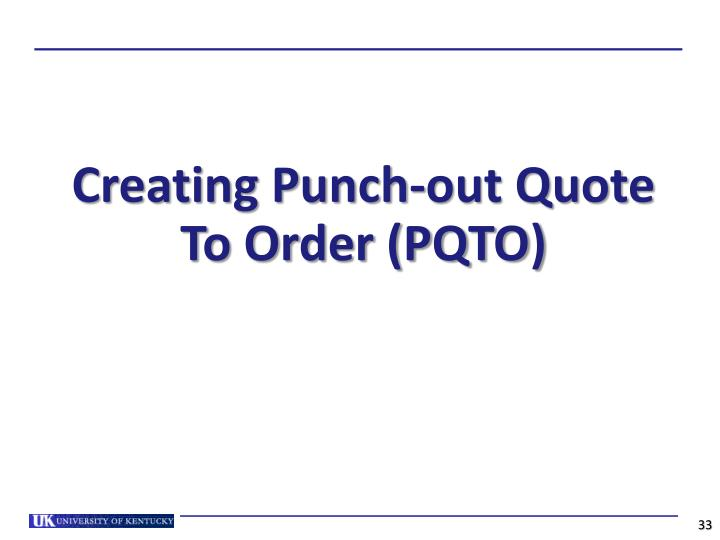 Creating Punch-out Quote To Order (PQTO)