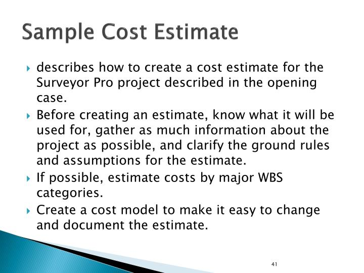 Sample Cost Estimate