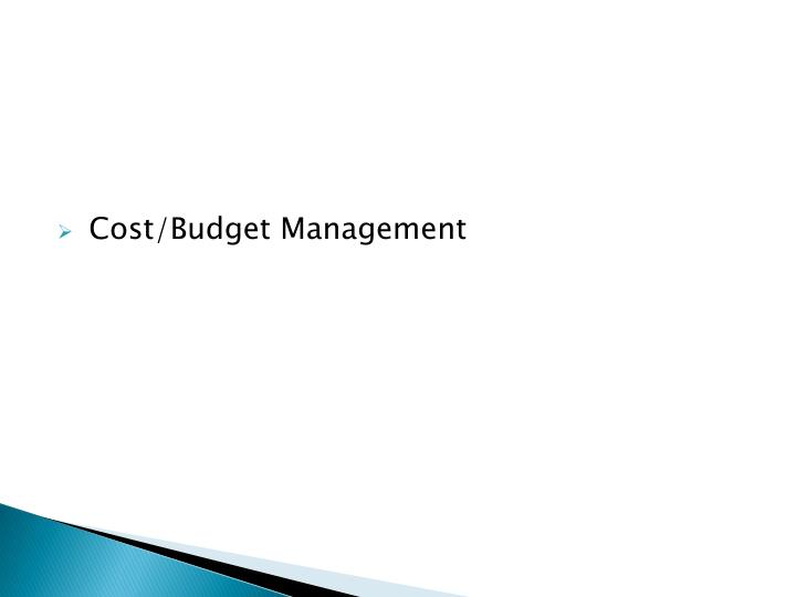 Cost/Budget Management