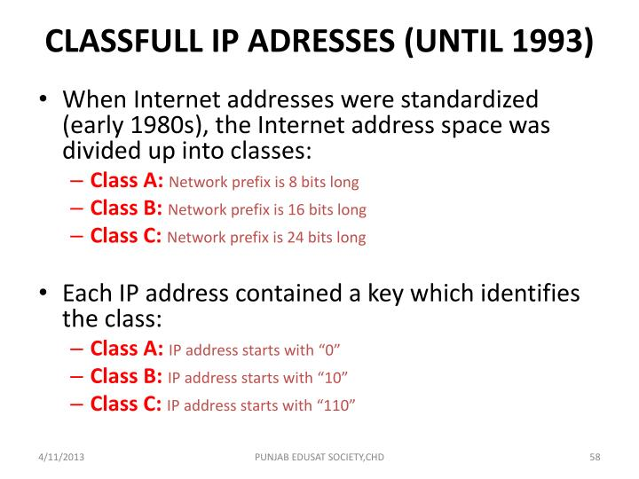 CLASSFULL IP ADRESSES (UNTIL 1993)