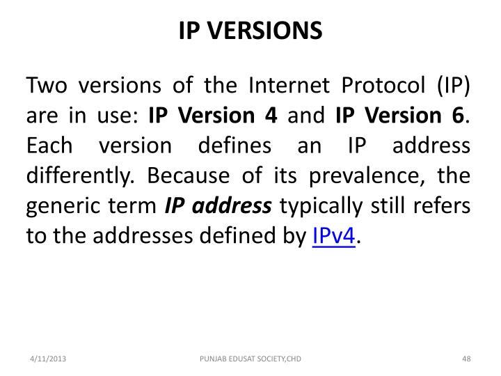 IP VERSIONS