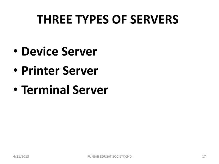 THREE TYPES OF SERVERS